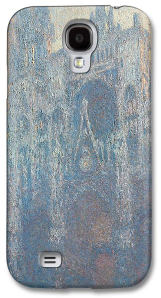 Morning Light Paintings Galaxy S4 Cases - The Portal of Rouen Cathedral in Morning Light Galaxy S4 Case by Claude Monet