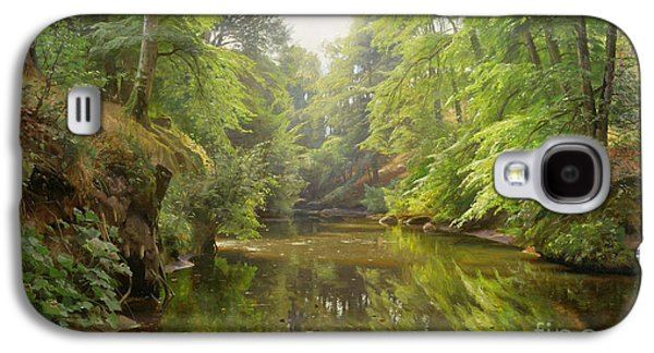 Perspective Paintings Galaxy S4 Cases - The Quiet River Galaxy S4 Case by Peder Monsted
