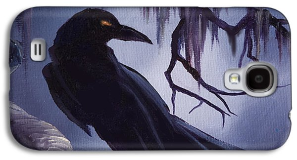 Headstones Paintings Galaxy S4 Cases - The Raven Galaxy S4 Case by James Christopher Hill