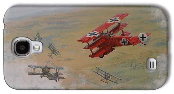 Wwi Paintings Galaxy S4 Cases - The Red Baron Galaxy S4 Case by Elaine Jones
