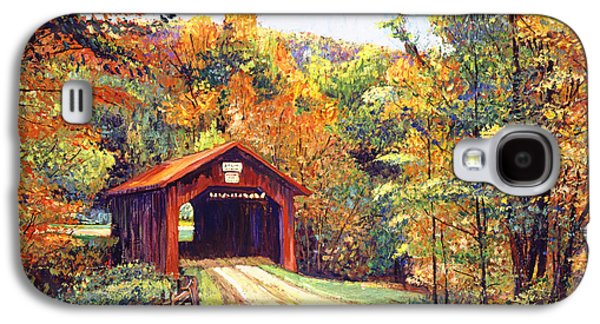 Pathway Paintings Galaxy S4 Cases - The Red Covered Bridge Galaxy S4 Case by David Lloyd Glover