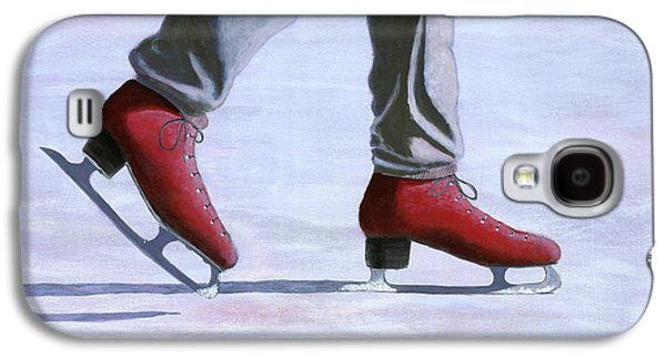 Snowy Day Paintings Galaxy S4 Cases - The Red Ice Skates Galaxy S4 Case by Karyn Robinson