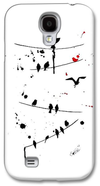 Black Bird.flying Paintings Galaxy S4 Cases - The Red Galaxy S4 Case by Oddball Art Co by Lizzy Love