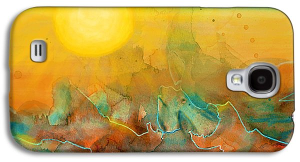 Abstract Digital Mixed Media Galaxy S4 Cases - The Rising Sun Galaxy S4 Case by Sandi OReilly