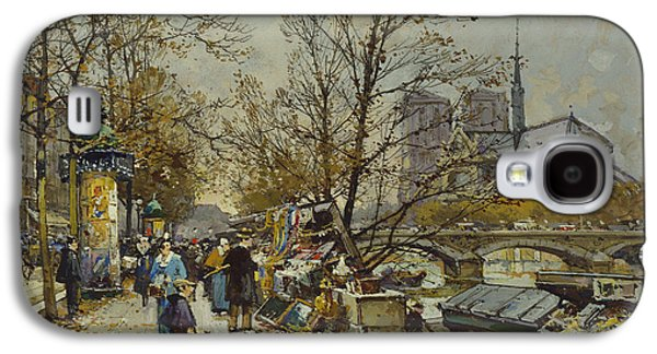 Universities Paintings Galaxy S4 Cases - The Rive Gauche Paris with Notre Dame Beyond Galaxy S4 Case by Eugene Galien-Laloue