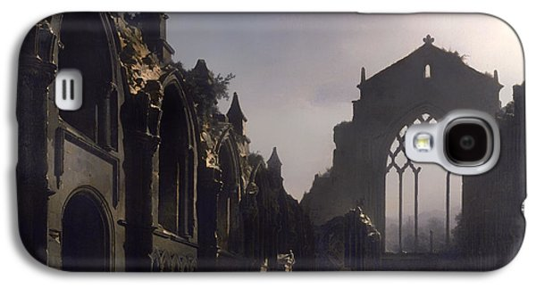 Christian work Paintings Galaxy S4 Cases - The Ruins of Holyrood Chapel Galaxy S4 Case by Louis Daguerre