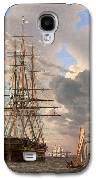 Frigates Paintings Galaxy S4 Cases - The Russian Ship of the Line Assow and a Frigate at Anchor in the Roads of Elsinore Galaxy S4 Case by Christoffer Wilhelm Eckersberg
