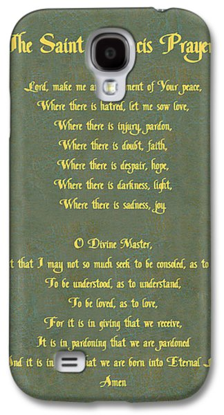 Pope Galaxy S4 Cases - The Saint Francis Prayer in gold lettering on green leather. Galaxy S4 Case by Philip Ralley