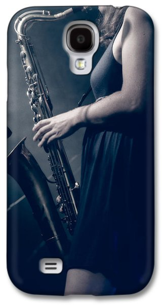 Music Photographs Galaxy S4 Cases - The Saxophonist Sounds In The Night Galaxy S4 Case by Bob Orsillo