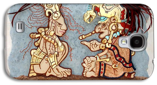 Relief Sculpture Reliefs Galaxy S4 Cases - The Shaman and the Goddess of Corn Galaxy S4 Case by Alberto H-B