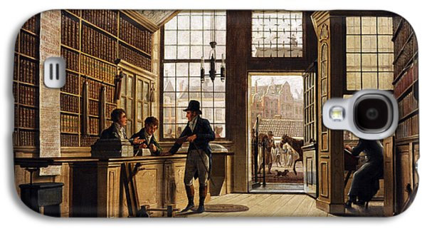 19th Century Galaxy S4 Cases - The Shop Of The Bookdealer Pieter Meijer Warnars On The Vijgendam In Amsterdam, 1820, By Johannes Galaxy S4 Case by Bridgeman Images