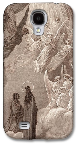 Singing Paintings Galaxy S4 Cases - The Singing of the Blessed in the Sixth Heaven Galaxy S4 Case by Gustave Dore