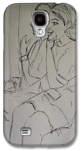 Sisters Drawings Galaxy S4 Cases - The Singing Sisters Galaxy S4 Case by Vineeth Menon