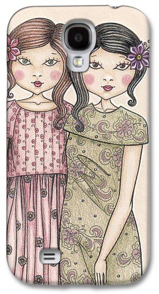 Sisters Drawings Galaxy S4 Cases - The sisters Galaxy S4 Case by Snezana Kragulj