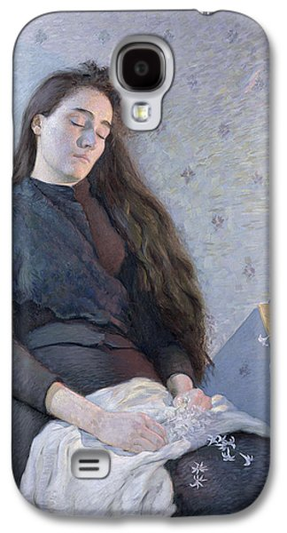 Shawl Galaxy S4 Cases - The Sleeping Flower Girl, 1892 Oil On Canvas Galaxy S4 Case by Eugene Assezat de Bouteyre