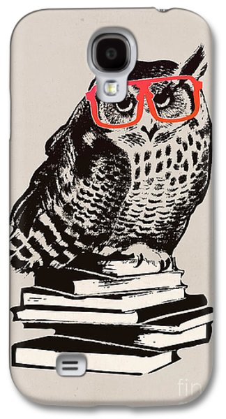 Kids Books Galaxy S4 Cases - The smart nerdy owl Galaxy S4 Case by Budi Kwan