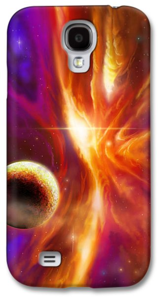 Stellar Paintings Galaxy S4 Cases - The Spirit Realm of the Saphire Nebula Galaxy S4 Case by James Christopher Hill