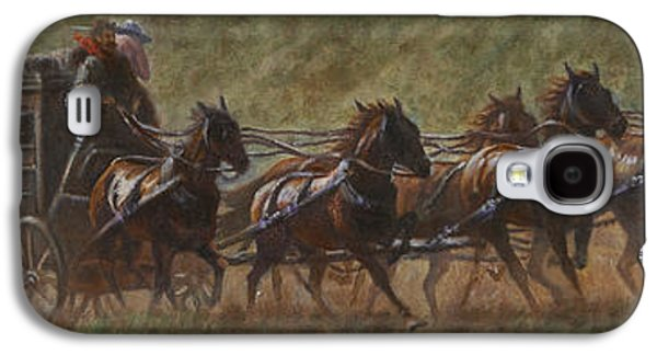Stampede Digital Art Galaxy S4 Cases - The Stage Coach Galaxy S4 Case by Gregory Perillo
