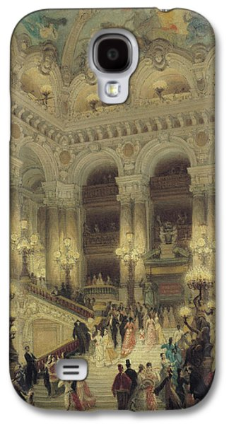 Night Lamp Paintings Galaxy S4 Cases - The Staircase of the Opera Galaxy S4 Case by Louis Beroud