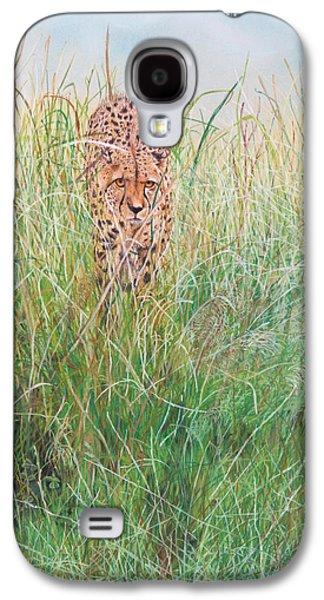 Cheetah Drawings Galaxy S4 Cases - The Stalker Galaxy S4 Case by John Hebb