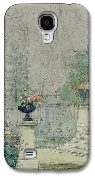 Green Drawings Galaxy S4 Cases - The Steps of Les Fourneaux at Melun Galaxy S4 Case by Henri Rouart