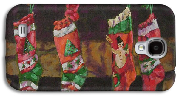 Christmas Eve Paintings Galaxy S4 Cases - The Stockings Galaxy S4 Case by Gloria  Nilsson