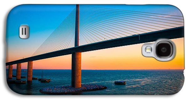 Sunshine Skyway Bridge Galaxy S4 Cases - The Sunshine Under the Sunshine Skyway Bridge Galaxy S4 Case by Rene Triay Photography