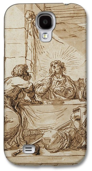 Jesus Photographs Galaxy S4 Cases - The Supper At Emmaus Ink On Paper Galaxy S4 Case by Guercino