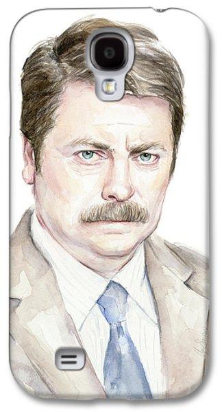 Fan Paintings Galaxy S4 Cases - The Swanson Watercolor Portrait Galaxy S4 Case by Olga Shvartsur