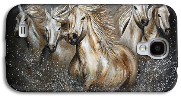Wild Horse Paintings Galaxy S4 Cases - The Symphony Galaxy S4 Case by Teshia Art