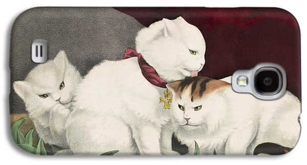 Adorable Galaxy S4 Cases - The three white kittens circa 1856 Galaxy S4 Case by Aged Pixel