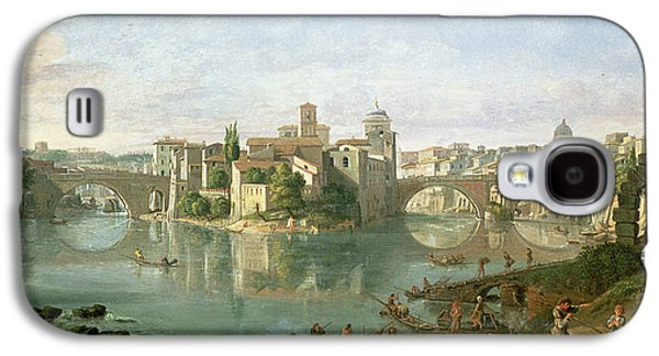 River Scenes Photographs Galaxy S4 Cases - The Tiberian Island In Rome, 1685 Galaxy S4 Case by Gaspar van Wittel