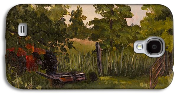 Janet Felts Galaxy S4 Cases - The Tractor by the Gate Galaxy S4 Case by Janet Felts