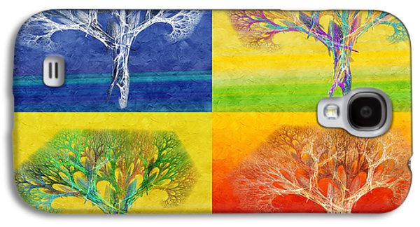 The Trees Mixed Media Galaxy S4 Cases - The Tree 4 Seasons - Painterly - Abstract - Fractal Art Galaxy S4 Case by Andee Design