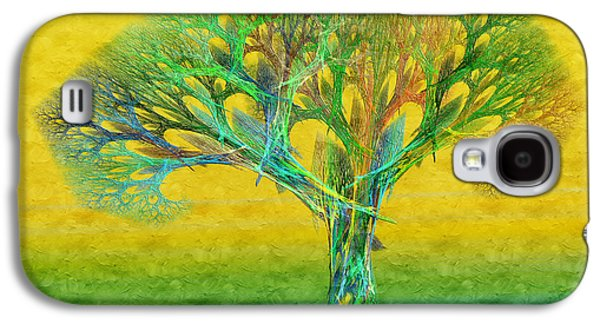 The Trees Mixed Media Galaxy S4 Cases - The Tree In Summer At Sunrise - Painterly - Abstract - Fractal Art Galaxy S4 Case by Andee Design