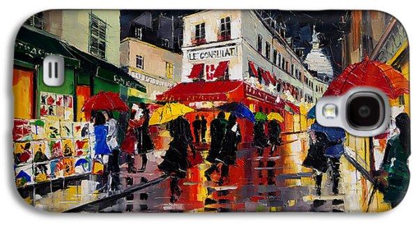 Green Galaxy S4 Cases - The Umbrellas Of Montmartre Galaxy S4 Case by Mona Edulesco