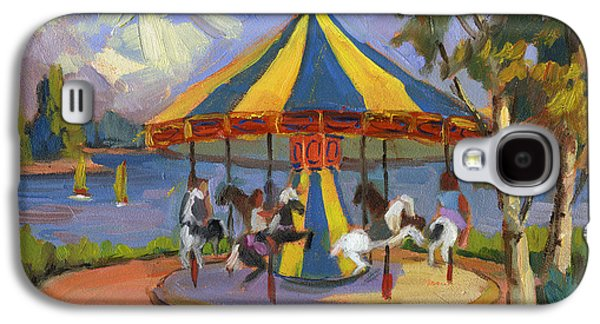 Waterscape Paintings Galaxy S4 Cases - The Village Carousel at Lake Arrowhead Galaxy S4 Case by Diane McClary