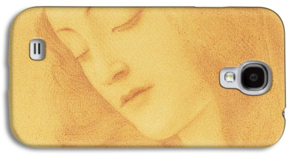 Religious Drawings Galaxy S4 Cases - The Virgin after Botticelli Galaxy S4 Case by Fernand Khnopff
