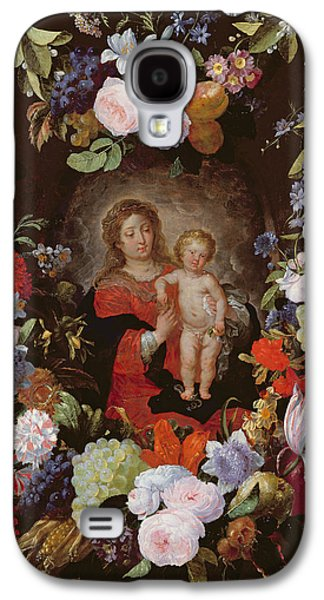 Jesus Photographs Galaxy S4 Cases - The Virgin And Child With A Garland Of Flowers Oil On Panel Galaxy S4 Case by Gerard Seghers