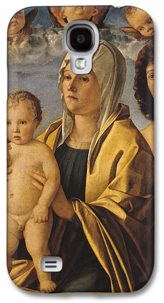 Jesus With Children Galaxy S4 Cases - The Virgin and Child with St Peter and St Sebastian Galaxy S4 Case by Giovanni Bellini