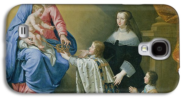 Praying Hands Galaxy S4 Cases - The Virgin Mary Gives The Crown And Sceptre To Louis Xiv, 1643 Oil On Canvas Galaxy S4 Case by Philippe de Champaigne