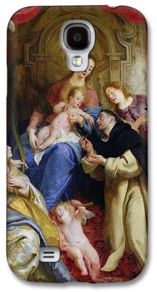 Cherub Galaxy S4 Cases - The Virgin Offering The Rosary To St. Dominic, 1641 Oil On Canvas Galaxy S4 Case by Gaspar de Crayer