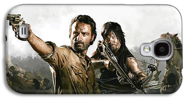 Print Mixed Media Galaxy S4 Cases - The Walking Dead Artwork 1 Galaxy S4 Case by Sheraz A