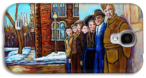 Montreal Streets Paintings Galaxy S4 Cases - The War Years 1942 Montreal St Mathieu And De Maisonneuve Street Scene Canadian Art Carole Spandau Galaxy S4 Case by Carole Spandau