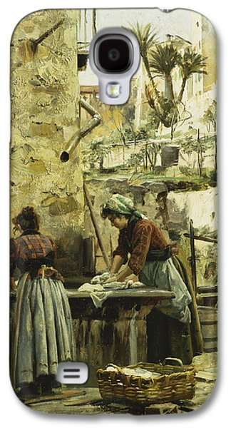 Laundry Paintings Galaxy S4 Cases - The Washerwomen Galaxy S4 Case by Peder Monsted