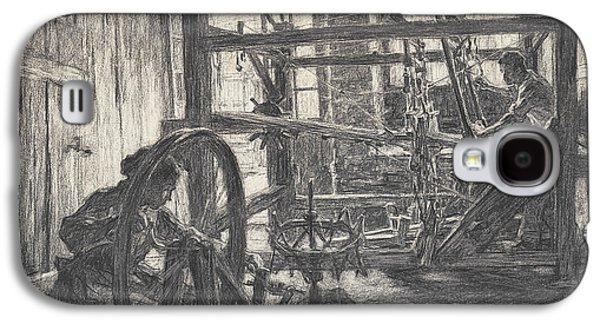 Industrial Drawings Galaxy S4 Cases - The Weaver and his Wife Galaxy S4 Case by Leon Augustin Lhermitte