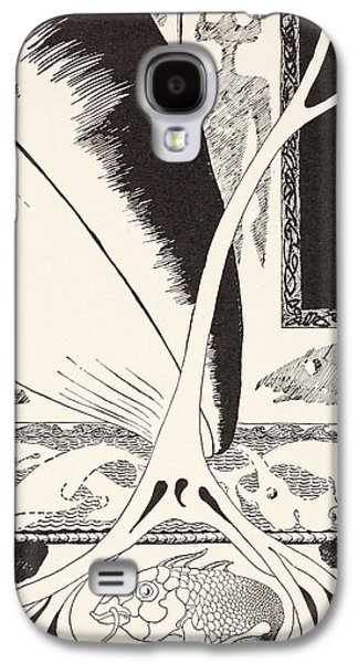 Ink Drawing Drawings Galaxy S4 Cases - The Whale looking for the Stute Fish Galaxy S4 Case by Joseph Rudyard Kipling