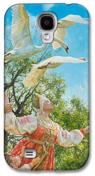 Swans... Paintings Galaxy S4 Cases - The white swan Galaxy S4 Case by Victoria Kharchenko