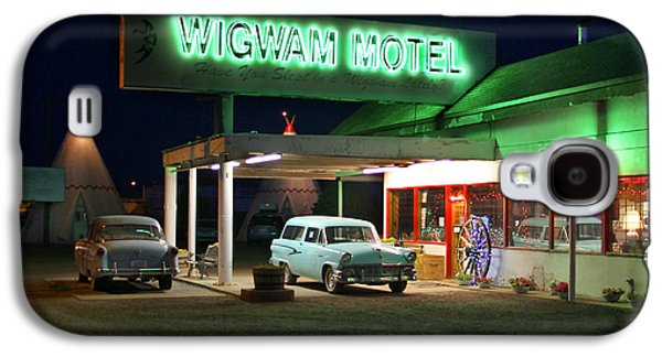 Night Scene Galaxy S4 Cases - The Wigwam Motel On Route 66 2 Galaxy S4 Case by Mike McGlothlen