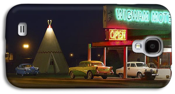 Night Scene Galaxy S4 Cases - THE WIGWAM MOTEL ON ROUTE 66 Panoramic Galaxy S4 Case by Mike McGlothlen